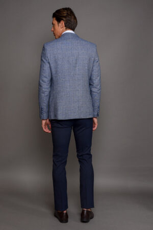Γαλάζιο Ανδρικό Σακάκι Καρό 1501-2103