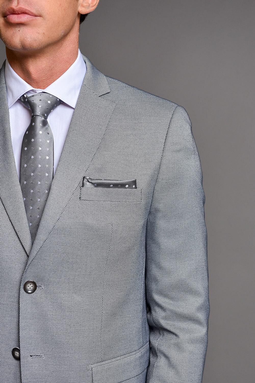 Γκρι Ανδρικό Κοστούμι Με Μικροσχέδια