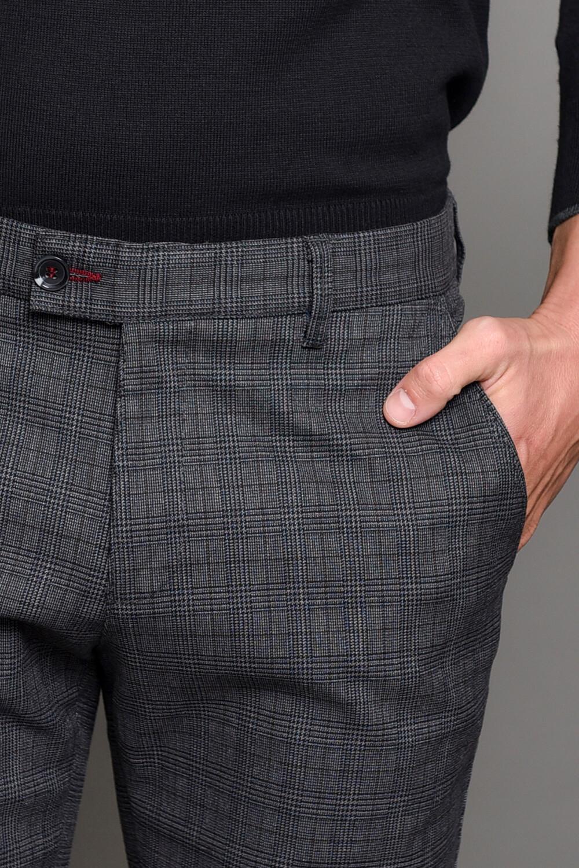 Γκρι Καρό Ανδρικό Παντελόνι