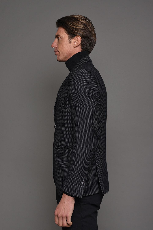 Μαύρο Ανδρικό Σακάκι Με Σχέδιο 1455-2085
