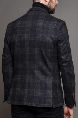 Σκούρο Μπλε Ανδρικό Σακάκι Με Καφέ Καρό Σχέδιο 1458-2085
