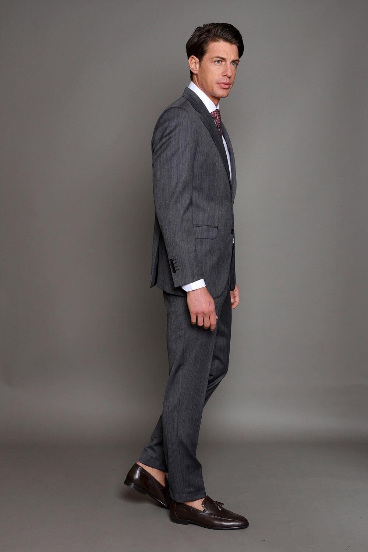 Γκρι Ανδρικό Κοστούμι με σχέδια 419-3087