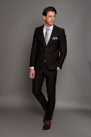 Καφέ Ανδρικό Κοστούμι με Σχέδια