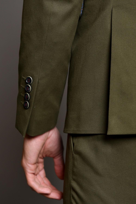 Λαδί Ανδρικό Κοστούμι με Σχέδια 1417-3085