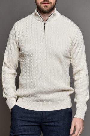 Λευκή Πλεκτή Μπλούζα Ανδρική