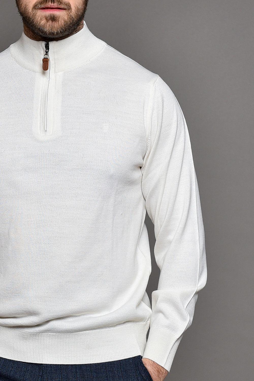 Λευκή Πλεκτή Μπλούζα Ανδρική Με Φερμουάρ