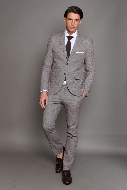 Μπεζ Ανδρικό Κοστούμι με Σχέδια 1464-3085