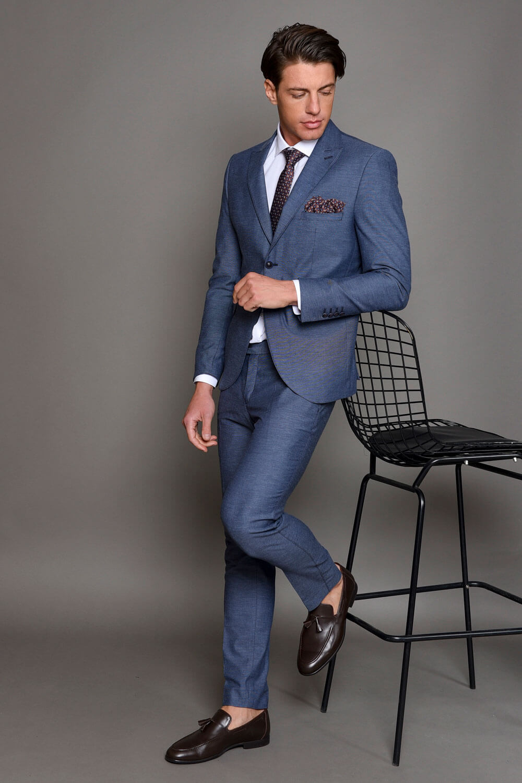 Μπλε Ανδρικό Κοστούμι με Γραμμές 1466-3085