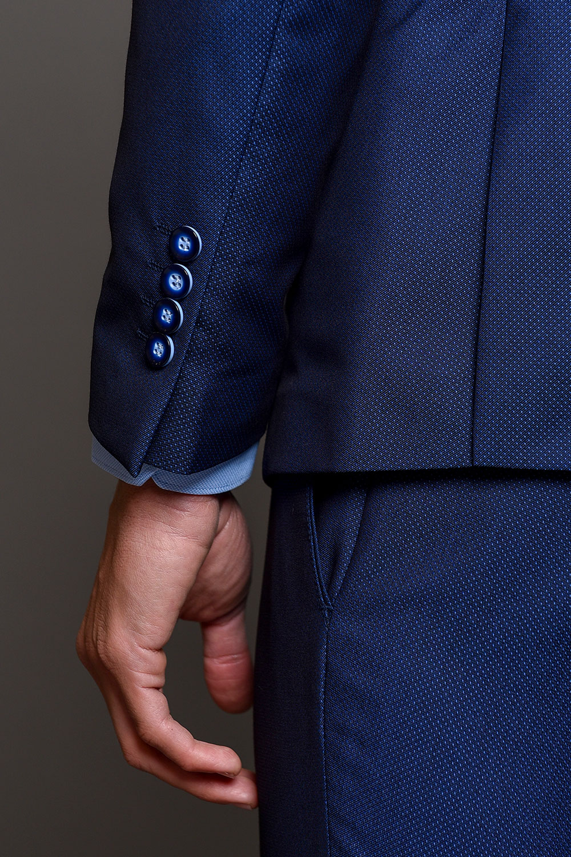 Μπλε Ανδρικό Κοστούμι Με Μικροσχέδια 1503-3103