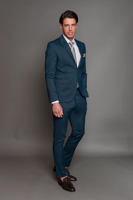Μπλε Ανδρικό Κοστούμι με Σχέδια 1462-3085