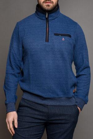 Μπλε Πλεκτή Ανδρική Μπλούζα Με Φερμουάρ