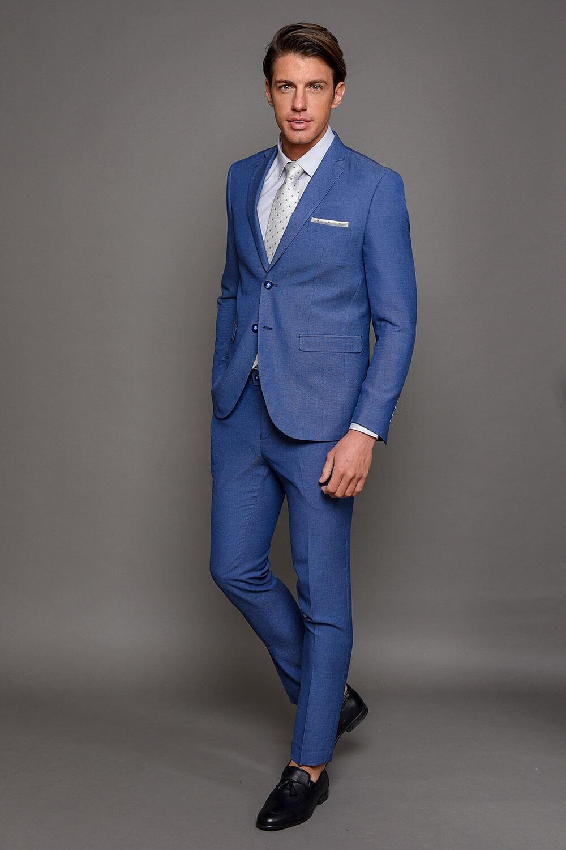 Μπλε Ραφ Ανδρικό Κοστούμι Με Μικροσχέδια 1504-3103
