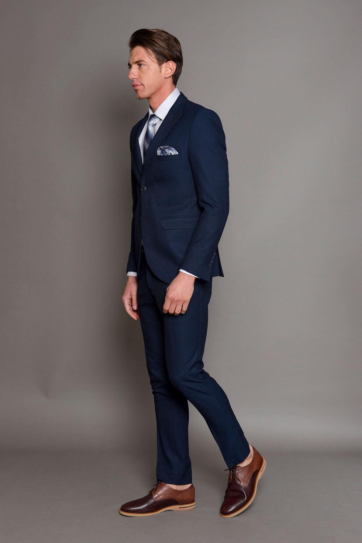 Σκούρο Μπλε Ανδρικό Κοστούμι με Σχέδια 1370-3085